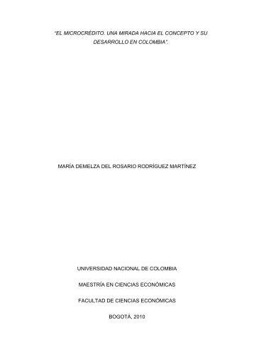 """""""el microcrédito. una mirada hacia el concepto y su desarrollo en ..."""