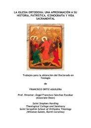 la iglesia ortodoxa - St. Stephen Harding Theological College and ...