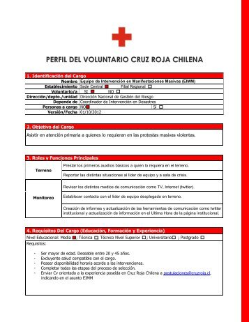 perfil del voluntario - Cruz Roja