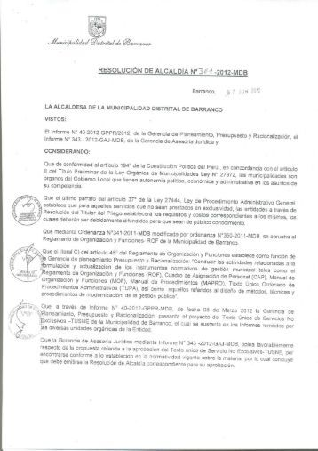 Texto Unico de Servicios No Exclusivos - Municipalidad de Barranco