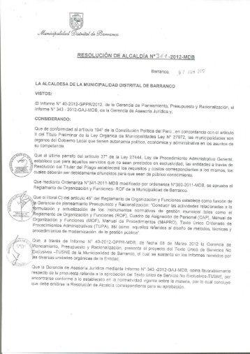 Texto Unico de Servicios No Exclusivos - Municipalidad de Barranco
