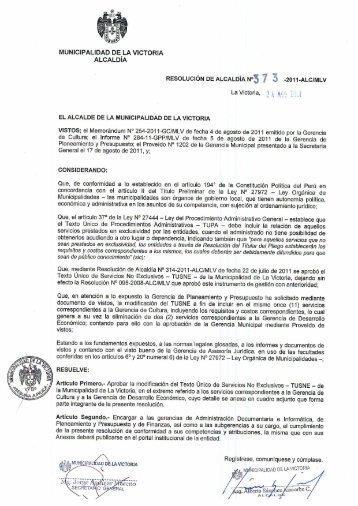 Texto Unico de Servicios No Exclusivos — TUSNE - Municipalidad ...