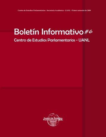 Boletín Informativo No. 6 del Centro de Estudios Parlamentarios