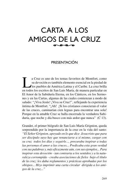 Carta A Los Amigos De La Cruz Misioneros Montfortianos