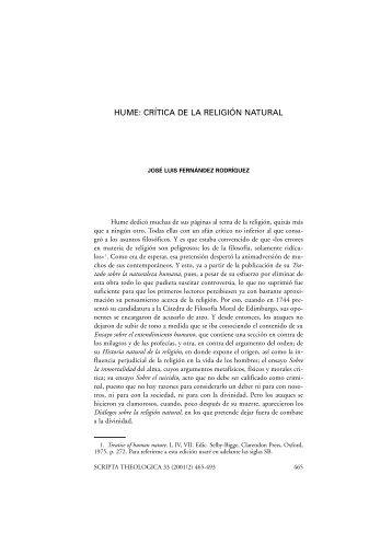 Hume. Crítica de la - Universidad de Navarra