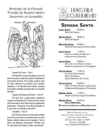 Domingo de Ramos - Boletín Dominical - Iglesia Ortodoxa