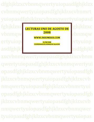 LECTURAS UNO DE AGOSTO DE 2008 - Insumisos