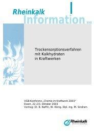 Trockensorptionsverfahren mit Kalkhydraten in ... - Rheinkalk