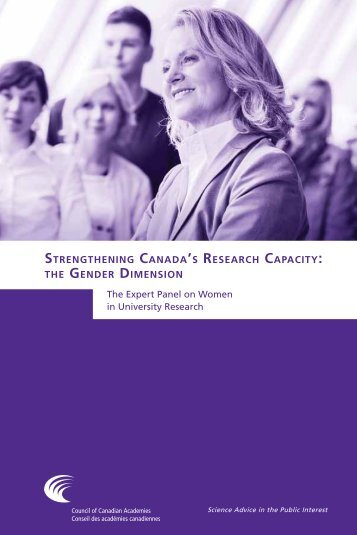 Strengthening Canada'S reSearCh CapaCity: gender dimenSion