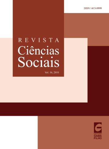 Ciências Sociais vol16 2010 online.indd - Universidade Gama Filho