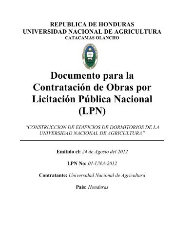 DOCUMENTOS ESTANDAR DE LICITACION - HonduCompras