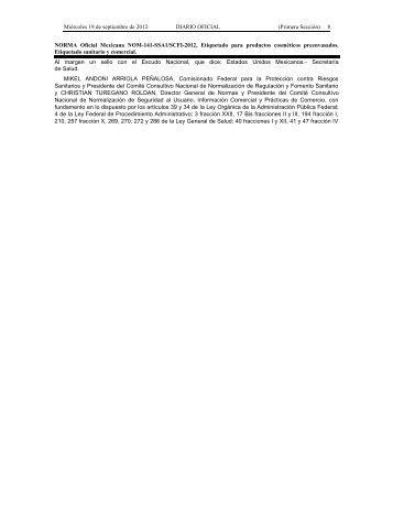 NORMA Oficial Mexicana NOM-141-SSA1/SCFI-2012