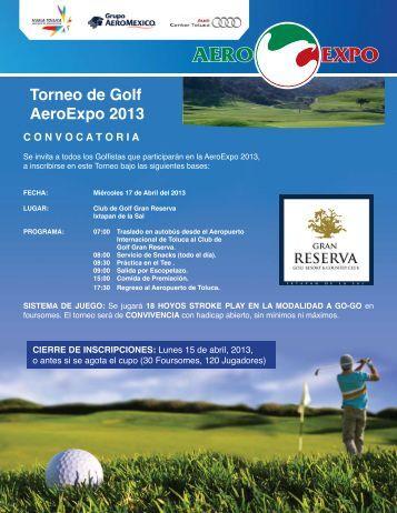 Torneo de Golf AeroExpo 2013 CONVOCATORIA