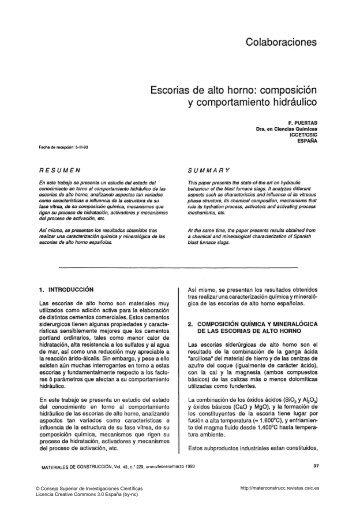 Escorias de alto horno: composición y ... - enlaces csic