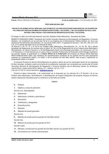 Normas Oficiales Mexicanas SSA1 PROY-NOM-226-SSA1-2002 1 ...