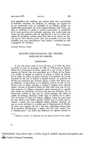 Apuntes lexicográficos del español hablado en Nariño