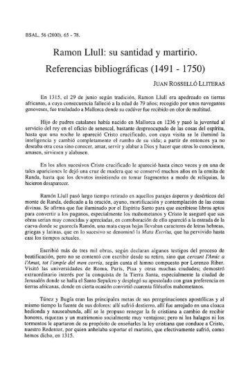 Ramon Llull: su santidad y martirio. Referencias bibliográficas (1491 ...