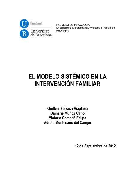 El Modelo Sistémico En La Intervención Familiar Dipòsit