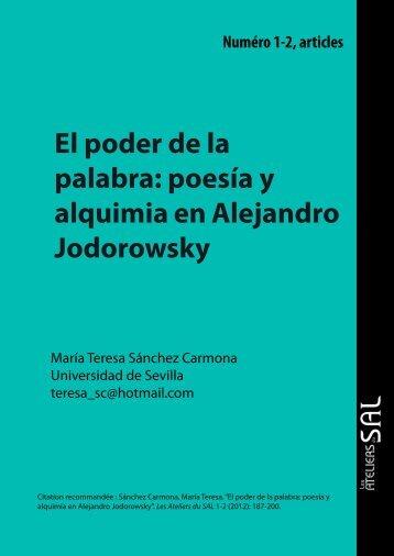 El poder de la palabra: poesía y alquimia en Alejandro Jodorowsky