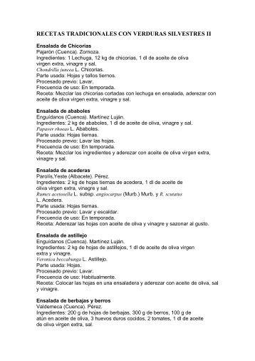 RECETAS TRADICIONALES CON VERDURAS SILVESTRES II