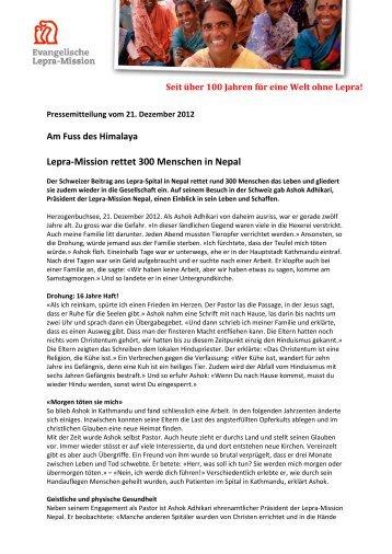 Lepra-Mission rettet 300 Menschen in Nepal - Rhone.ch