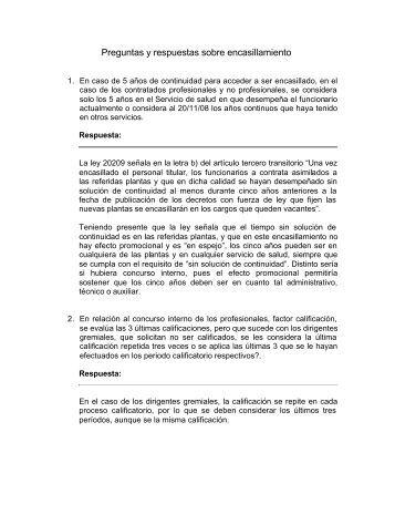 Preguntas y respuestas sobre encasillamiento - Servicio de Salud ...