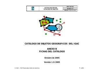 catálogo de objetos geográficos del igac anexo b fichas ... - CP IDEA