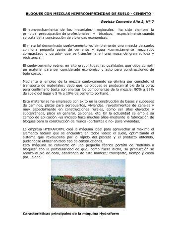 BLOQUES CON MEZCLAS HIPERCOMPRIMIDAS DE SUELO - ICPA