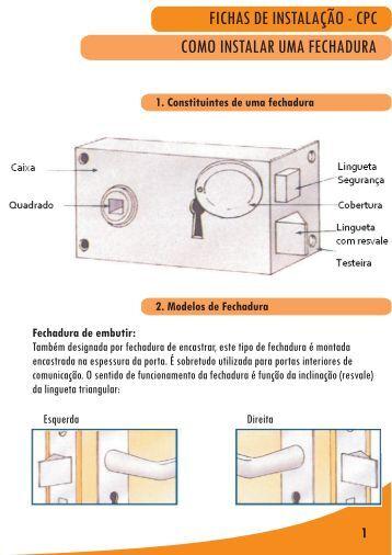 fichas de instalação - cpc como instalar uma fechadura