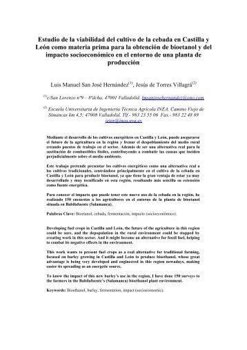 Estudio de la viabilidad del cultivo de la cebada en Castilla y León ...