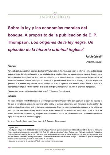 Lila Caimari, Sobre la ley y las economías morales ... - Historia Política