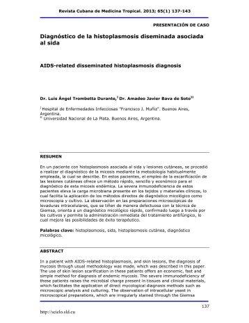 Diagnóstico de la histoplasmosis diseminada asociada al ... - SciELO