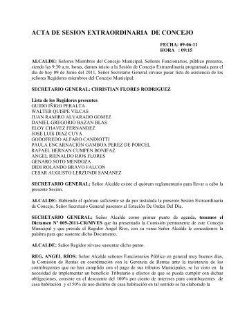 Sesion realizada el 09 de Junio del 2011 - Municipalidad de Villa El ...