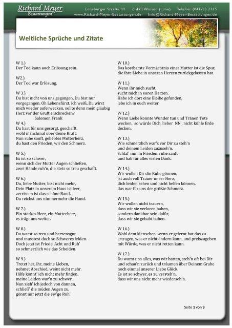Weltliche Sprüche Und Zitate Richard Meyer Bestattungen