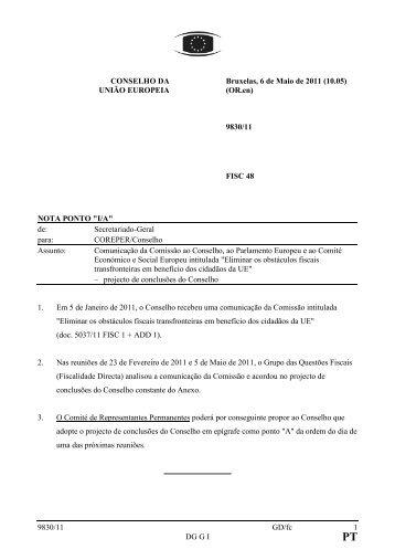 9830/11 GD/fc 1 DG G I CONSELHO DA UNIÃO EUROPEIA ...