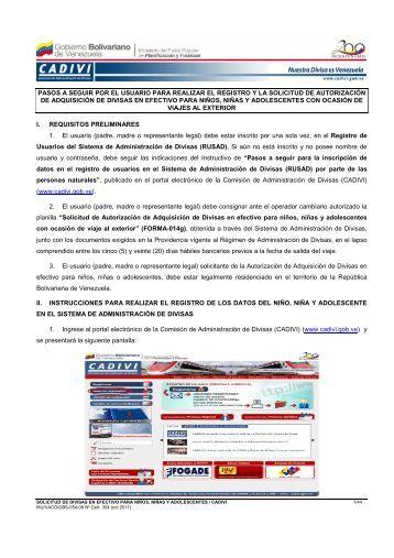 Instructivo Usuario Niños Niñas y Adolescente - Cadivi