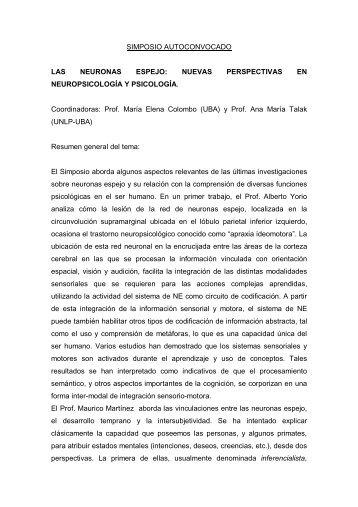 LAS NEURONAS ESPEJO - Facultad de Psicología