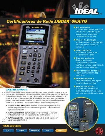 Certificadores de Rede LANTEK®6/6A/7G - ideal industries