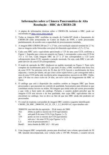 Imagens HRC/CBERS-2B - INPE/OBT/DGI