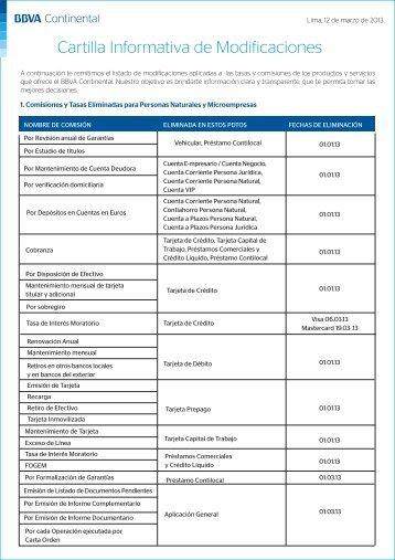 Cartilla Informativa de Modificaciones - BBVA Banco Continental