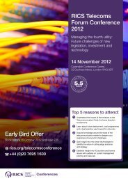 RICS Telecoms Forum Conference 2012 Early Bird Offer
