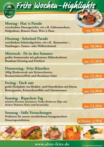 """Fritz Wochen-Highlights - Braugasthaus """"Zum alten Fritz"""""""
