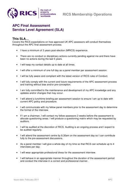 Apc Final Assessment Service Level Agreement Sla Rics