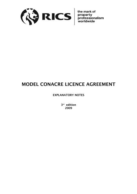Model Conacre Licence Agreement Rics