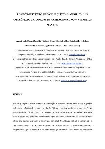 desenvolvimento urbano e questão ambiental na amazônia