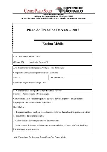 Língua Portuguesa - Etec Palmital