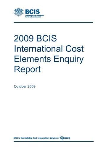 Bcis Elemental Standard Form Of Cost Analysis Sfca Rics