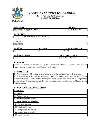 Programa e Plano de Aula - Ucg