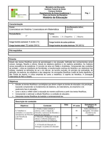 História da Educação - Goiânia - Instituto Federal de Goiás