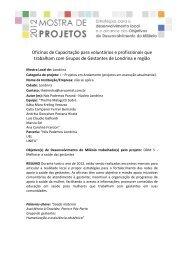 Oficinas de Capacitação para voluntários e profissionais que ... - Fiep
